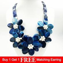 Lii Ji Natural Stone Dye Blue Onyx,Blue Sodalite,Freshwater Pearl Handmade Flower Statement Necklace Jewelry Approx 55cm