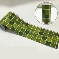 classic green grid wallpaper borders waterproof bathroom tile waist line stickers diy adhesive kitchen wall decor sticker ez073