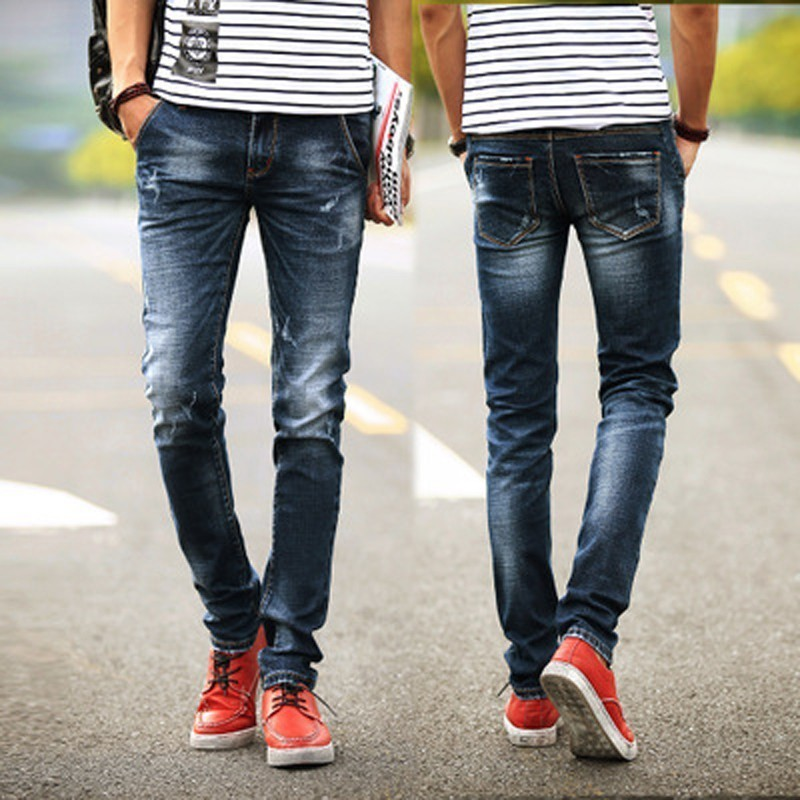 Мужские джинсы-джоггеры стрейч, хлопковые обтягивающие корейские длинные прямые джинсы средней длины, светло-голубой джинсовый светильник...