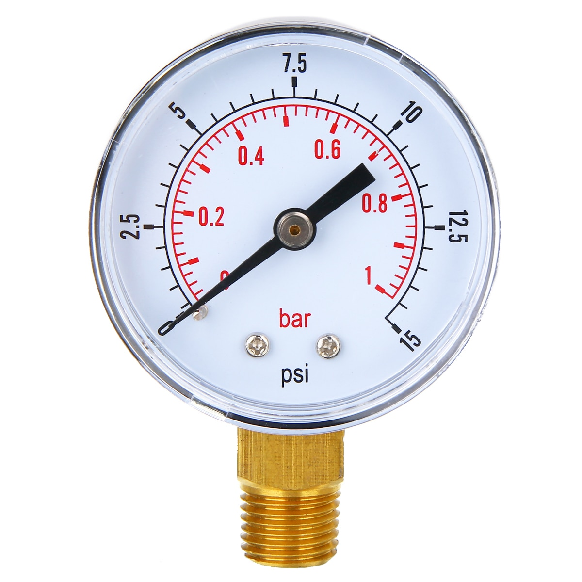 0 1 5 psi 0 1bar gauge 4 20ma sensor pressure 9v to 30v 24v dc supply male thread 1 4 npt 316l wetted parts low cost New Low Pressure Pressure Gauge 50mm Diameter 0-15 PSI 0-1 Bar 1/4 BSPT For Fuel Air Oil Gas Water 70*50*22mm