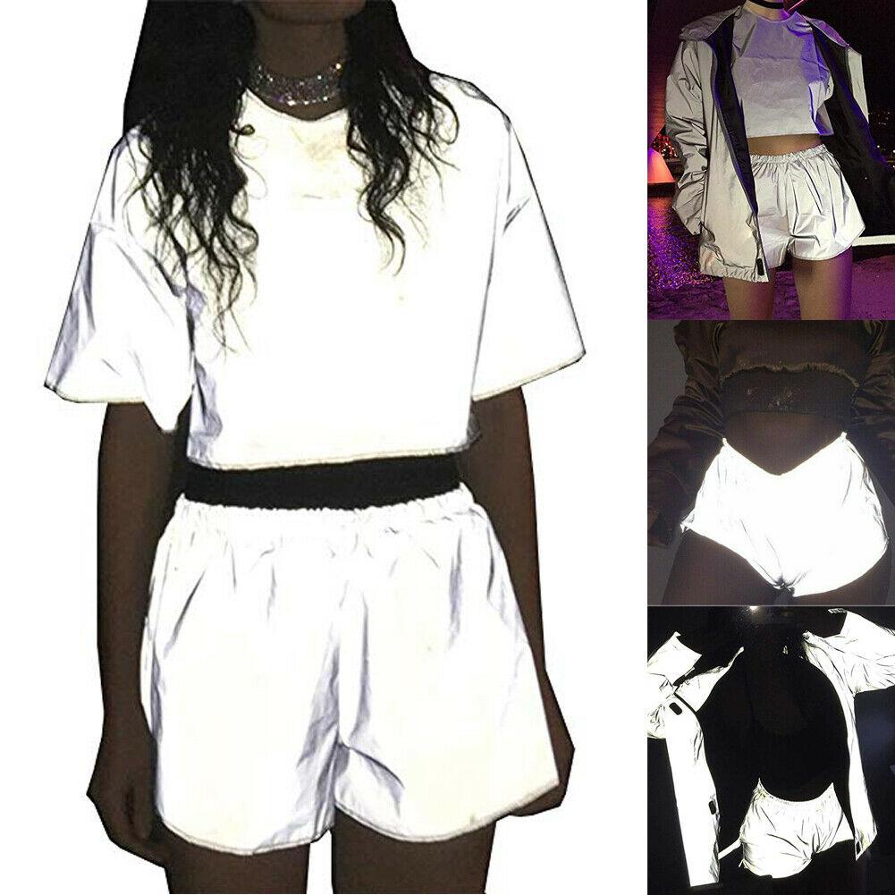 Novo feminino meninas moda casual chique verão shorts sólido flash reflexivo curto luminoso shorts festa cluwear