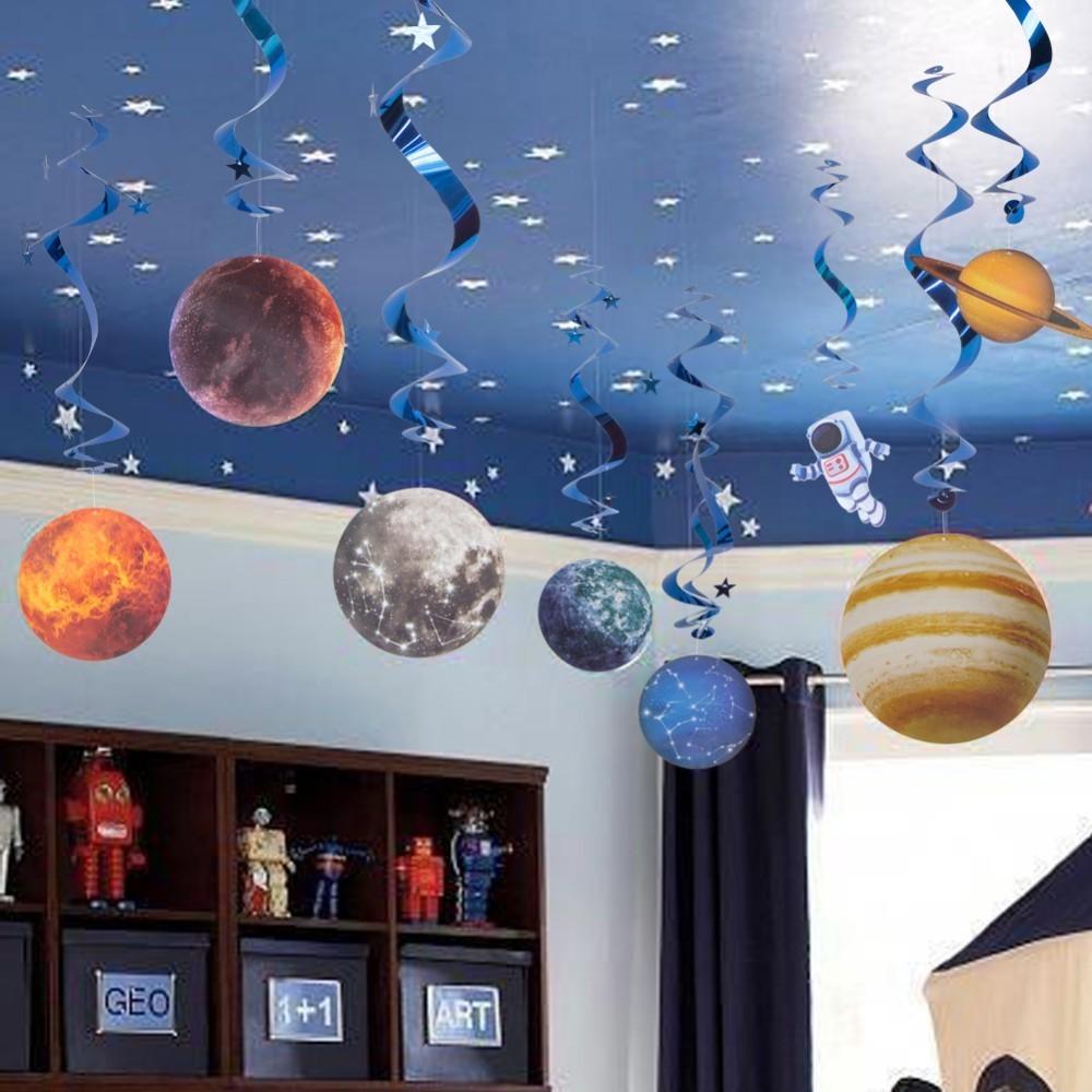 10 stücke Planeten Raum Thema Party Dekoration für Home Muster Papier Hängen Wirbelt Versorgung Kinder Cosmos Weltraum Geburtstag Decor