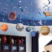 10 pièces planète espace thème fête décoration pour la maison motif papier suspendus tourbillon approvisionnement enfants Cosmos espace extérieur anniversaire décor