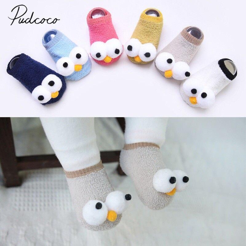 ¡Novedad de 2018! bonitos calcetines de algodón para recién nacidos y niños con ojos grandes y 6 colores de dibujos animados, calcetines cálidos para invierno de 0 a 3 años