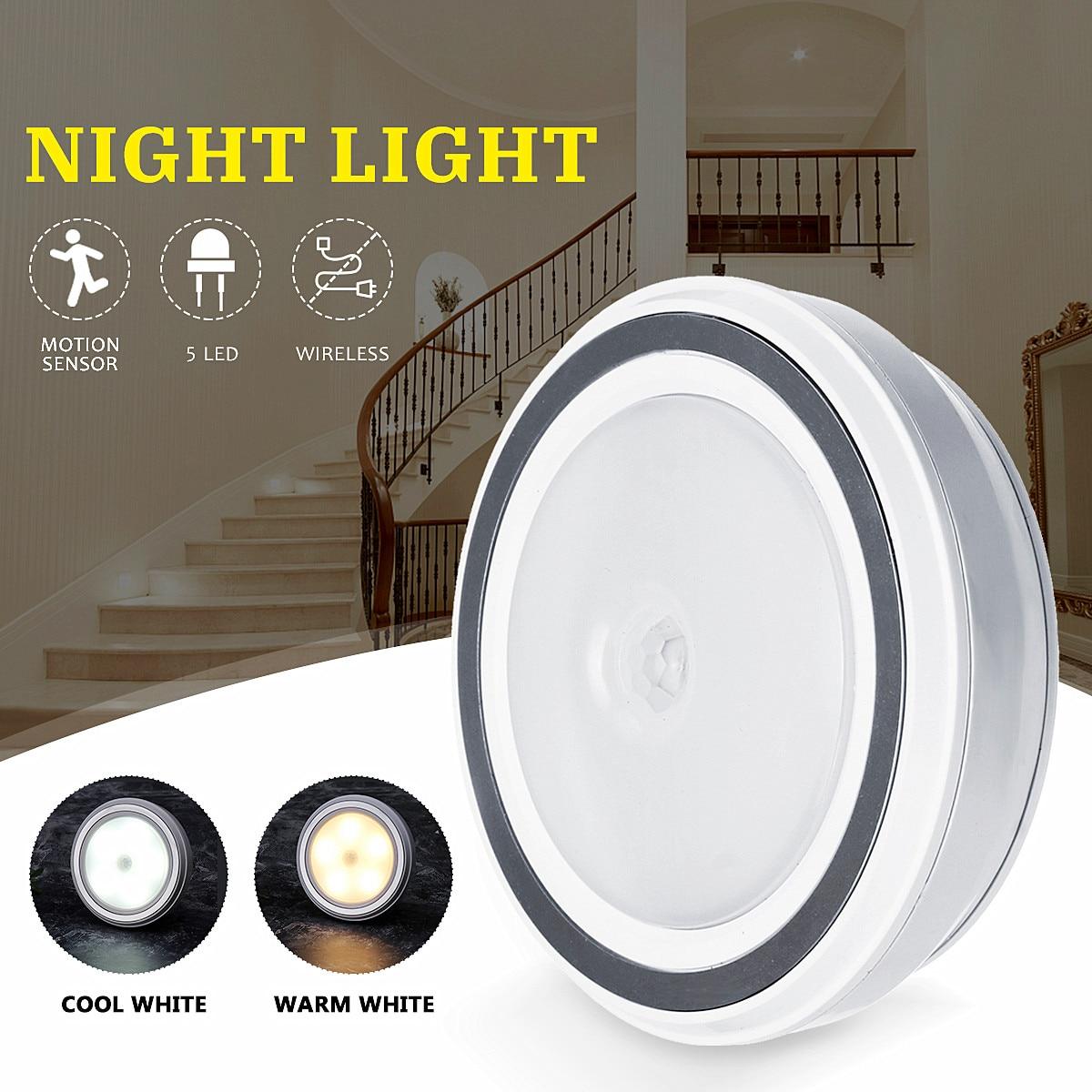 Новое поступление LED2835 5 светодиодов ночник теплый холодный свет PIR датчик движения инфракрасный беспроводной светодиодный настенный свети...