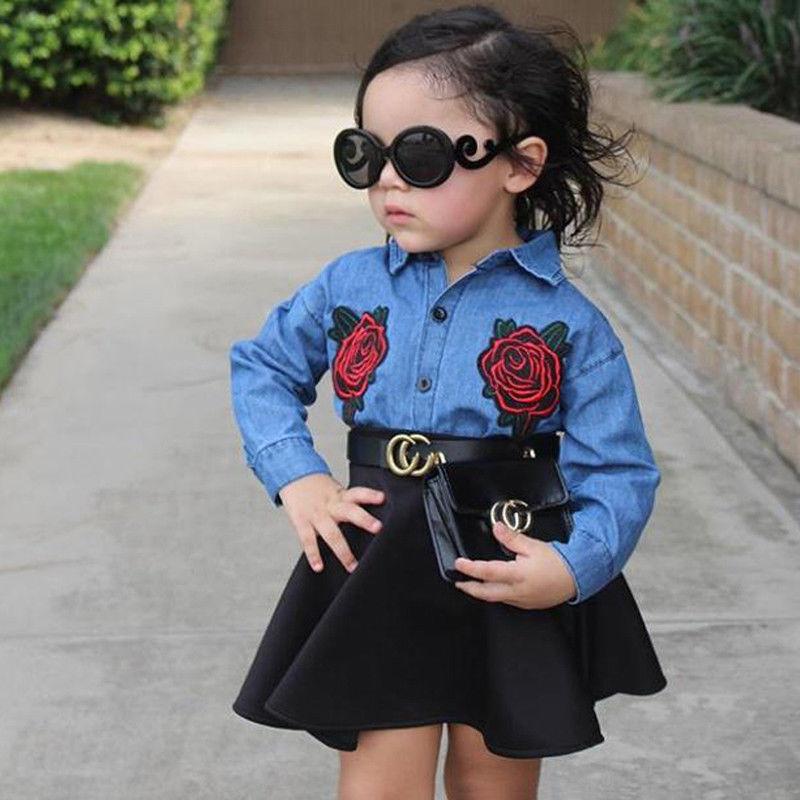 Long Sleeve Denim Shirt Top and PU Leather Skirt Set For Toddler Girl