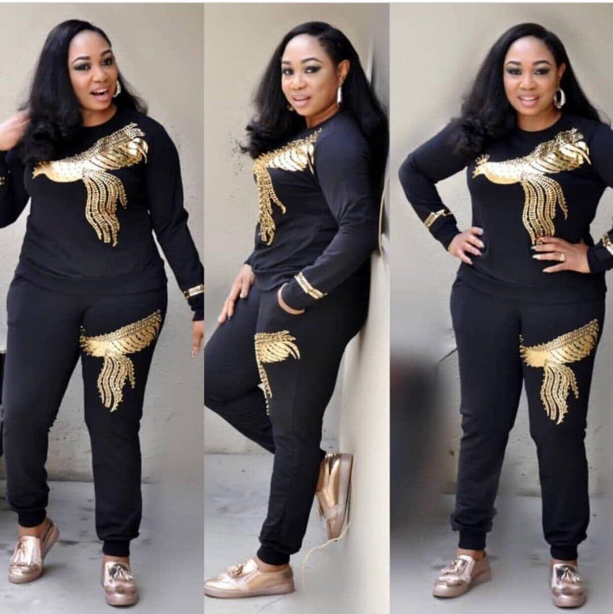 Женские комплекты в африканском стиле, комплекты размера плюс на весну и осень, Новое поступление, 2019, комплекты размера плюс для женщин