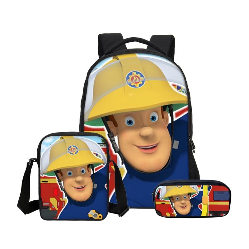 2020 New 3Pcs/Set Hot Sale Cartoon Fireman Sam Prints Men School Backpacks Girls Shoulder Bags Boys Teenage Haversack Children