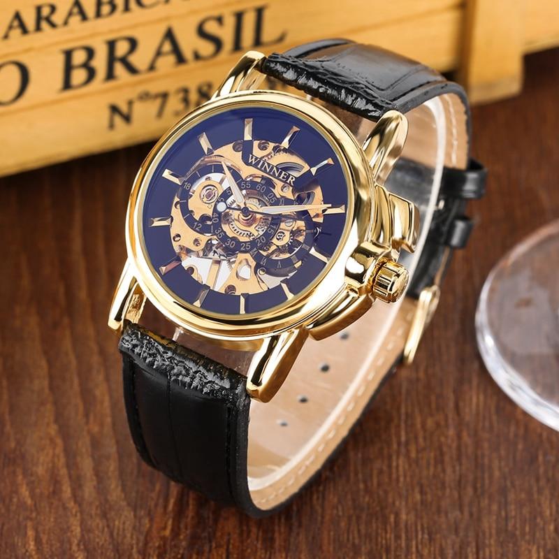 Reloj deportivo para hombre, reloj esqueleto de lujo, Reloj Mecánico Militar, correa de cuero, relojes de pulsera de alta calidad para hombre