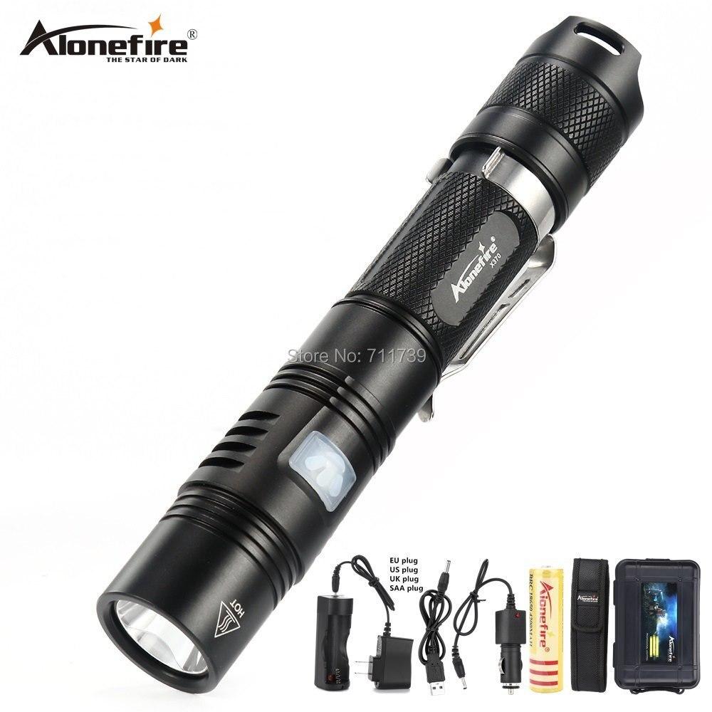 Linterna táctica AloneFire X370 Cree XPL 1000 lúmenes potente linterna LED Torcia 6 modos antorcha con clip indicador de luz