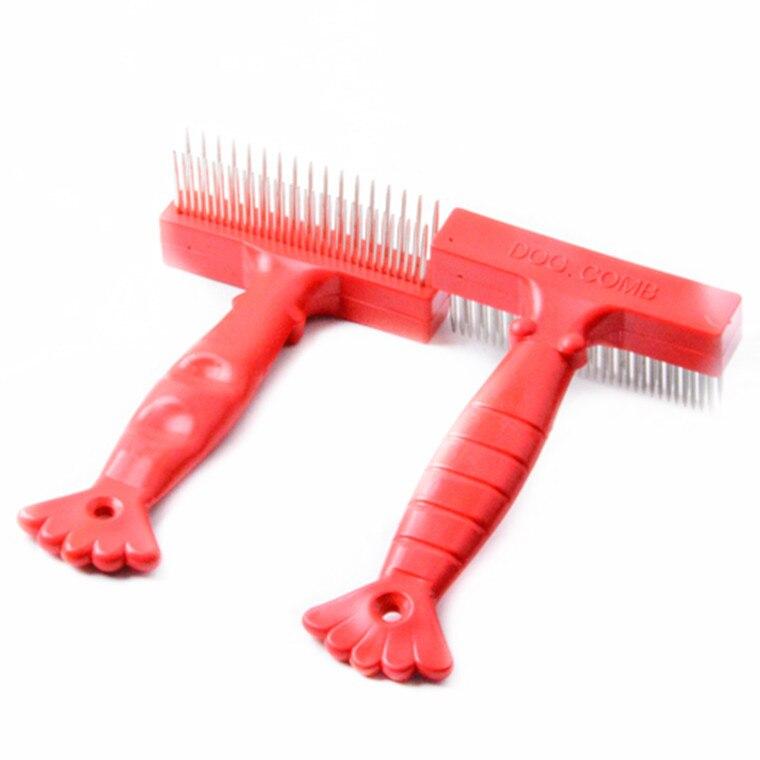 1 Uds. Cepillo de limpieza para el cuidado del cabello para mascotas, accesorios para mascotas, mango de plástico rojo, doble hilera, peine para uñas de acero inoxidable