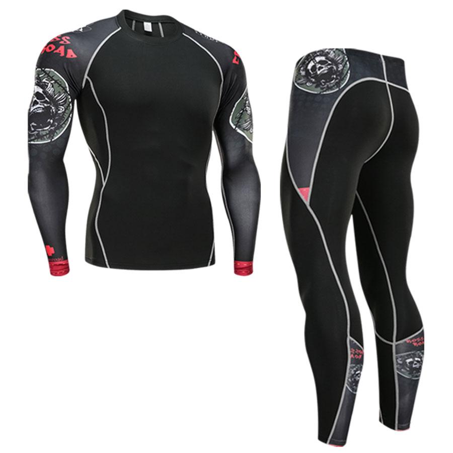 Winter Thermal Underwear Set Men's Sportswear Running Training Warm Base Layer Compression Tights Jogging Suit Men's Gym 2019