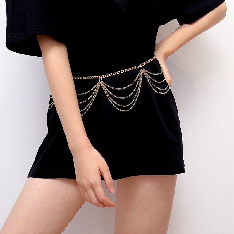 Nuevo cinturón Retro de cintura alta para mujer, cadena estrecha dorada, cinturón para vestido, cadena corporal, cinturones con flecos gruesos para mujer