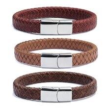 XINYAO 2019 Bracelet enroulé en cuir véritable tressé rouge marron noir 100% pour hommes et femmes en acier inoxydable aimant large Bracelets Pulsera