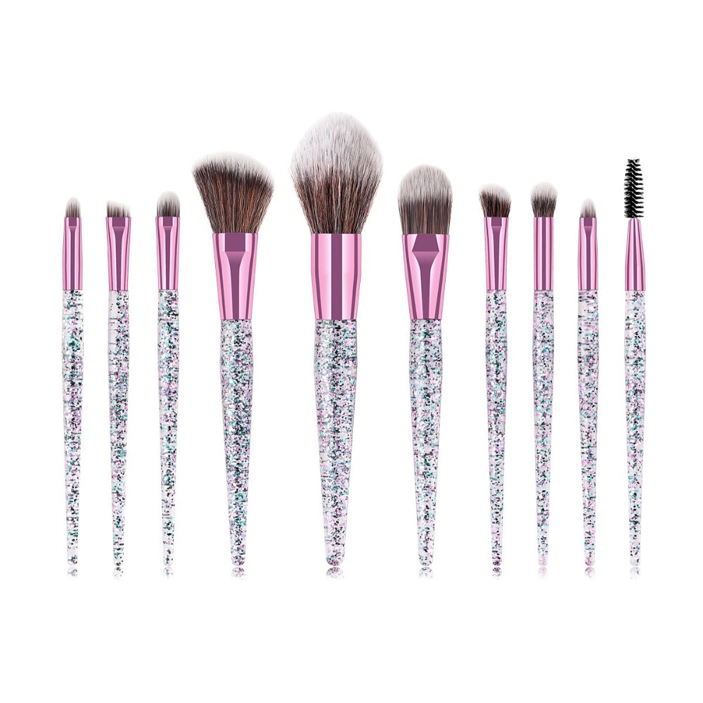 Eye shadow brushes set 10pcs makeup brush tools & accessories with opp bag glitter crystal handle 100sets/lot DHL Free