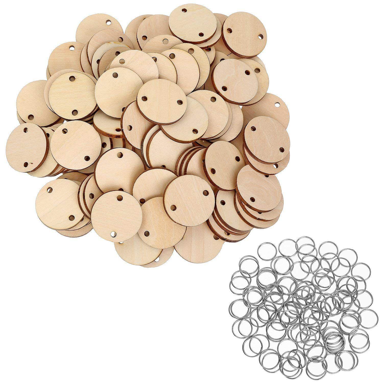 100 peças redondas discos de madeira com furos placa de aniversário tags e 100 peças 15 mm anéis para artes e ofícios (3 cm)