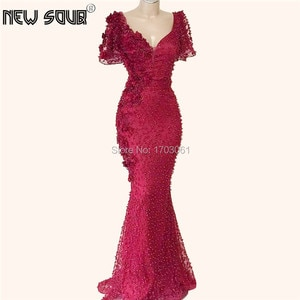 Burgundy Pearls Formal Prom Dress For Weddings Long Dubai African Evening Dress Robe De Soiree Turkish Party Gowns 2019 Kaftans