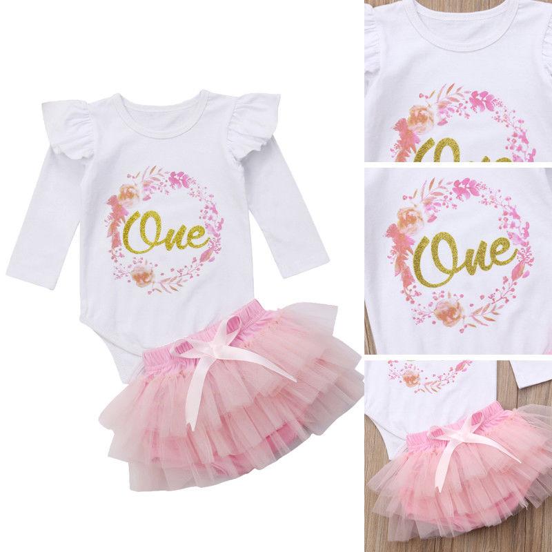 2pcs Cute Baby Girl 1st Birthday Clothes Tutu Dress Skirt Infant Outfits Cake Smash 2019 Hot Baby Girl Romper Skirt Set 0-24M
