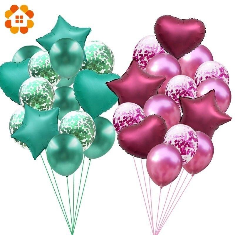 1 SET/12/18 pulgadas Confetti metalizado globos Feliz cumpleaños fiesta decoraciones de globos de helio boda Festival Balon fiesta suministros