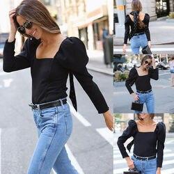 Женская летняя блузка с длинным рукавом в стиле Лолиты, элегантные свободные топы с квадратным вырезом