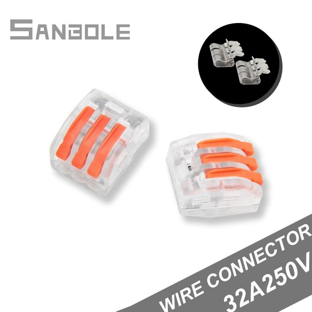 3P موصل سلك اتصال شفافة محطة كتلة 32A/250V النحاس موصل كهربائي PCT-413 (100 قطعة)