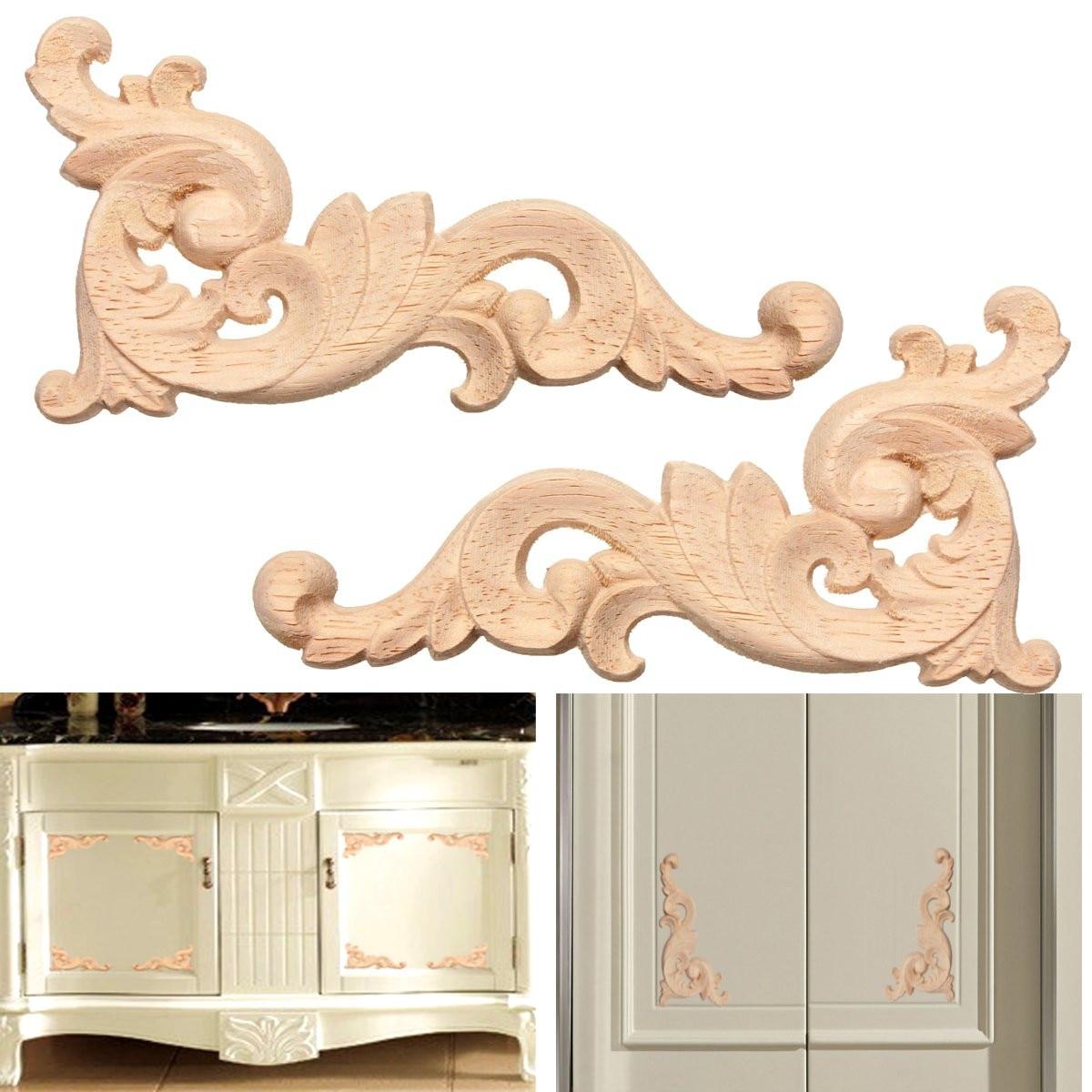 Vintage 1pc Woodcarving Decal Wood Carved Corner Applique Frame Door Decor Wall Doors Furniture Decor Figurines Wooden Miniature