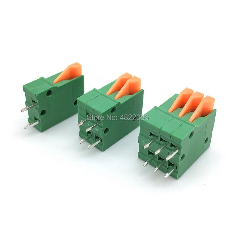 50pcs KF141V 2.54mm Pitch Spring Terminal Blocks Connector 2/3/4/5/6/7/8/9/10Pin Straight Needle