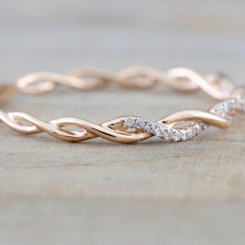 Venda Torção Clássico Cubic Zirconia Presente de Casamento Anel de Noivado para a Mulher Meninas Cristais Austríacos Anéis Bague Femme