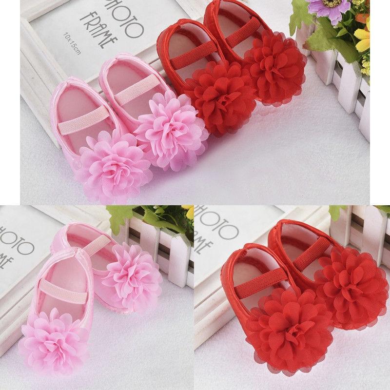 Lovely Baby Menina Flor Princesa Berço Crib Shoes 3D Sapatos Casuais Cor Sólida Macia Sole Anti-slip Floral Prewalkers Newborn 0-18M