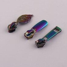 10 pièces/lot couleur arc-en-ciel pour 5 # glissière curseurs extracteur sac à main sac bagages accessoires de vêtement