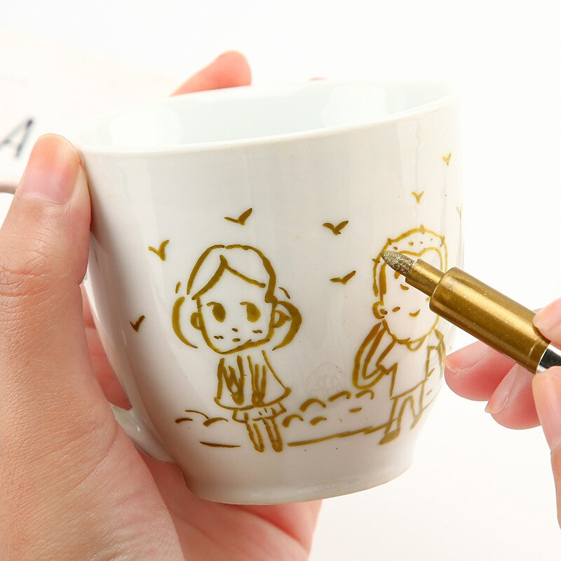 Marcador de Arte de pintura de Color de Metal 1,5mm impermeable DIY permanente Manga dibujo artesanal bolígrafos de papelería oficina escuela arte suministros