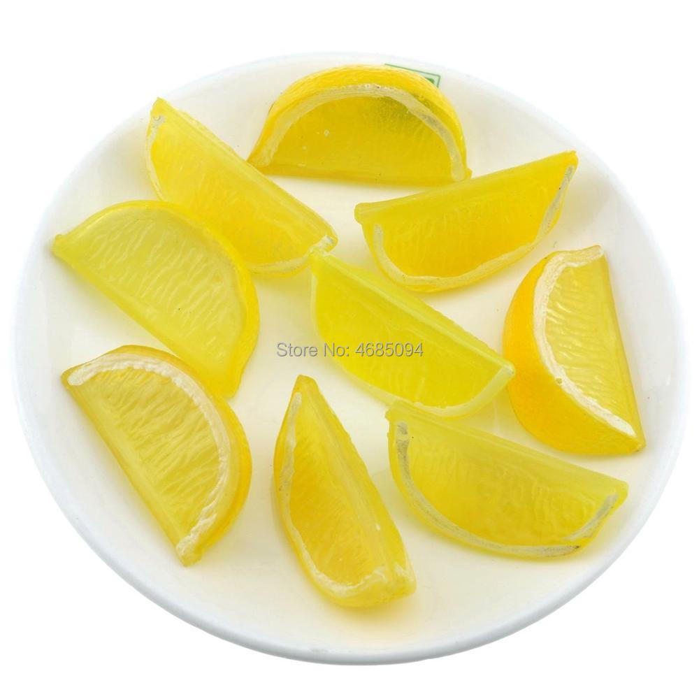 Gresorth 9 piezas Artificial amarillo limón rebanada frutas falsas rodajas decoración del Gabinete de la Mesa del hogar