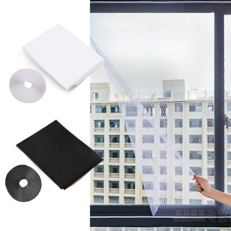 Diy mosquito net cortina janela anti-inseto tela de malha cortina com adesivos protetor de fita tela mosca inseto