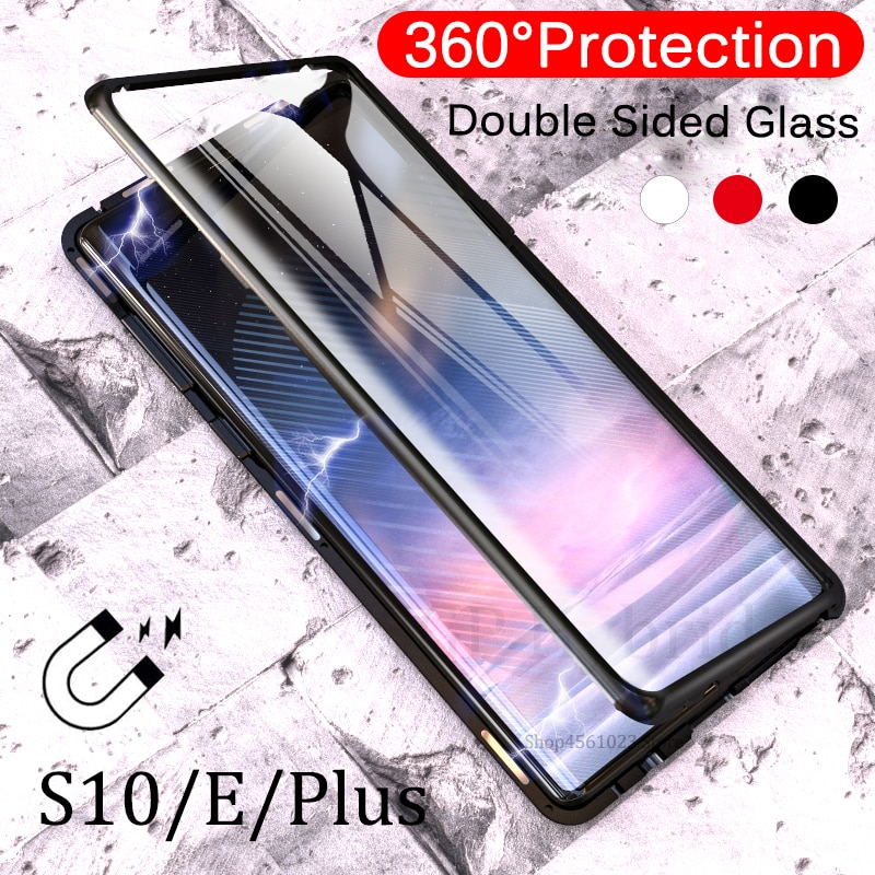 Funda protectora rígida de cristal transparente para Samsung Galaxy s10plus para Galaxy S10 e plus S10e, carcasa magnética de 360 ° con marco de Metal