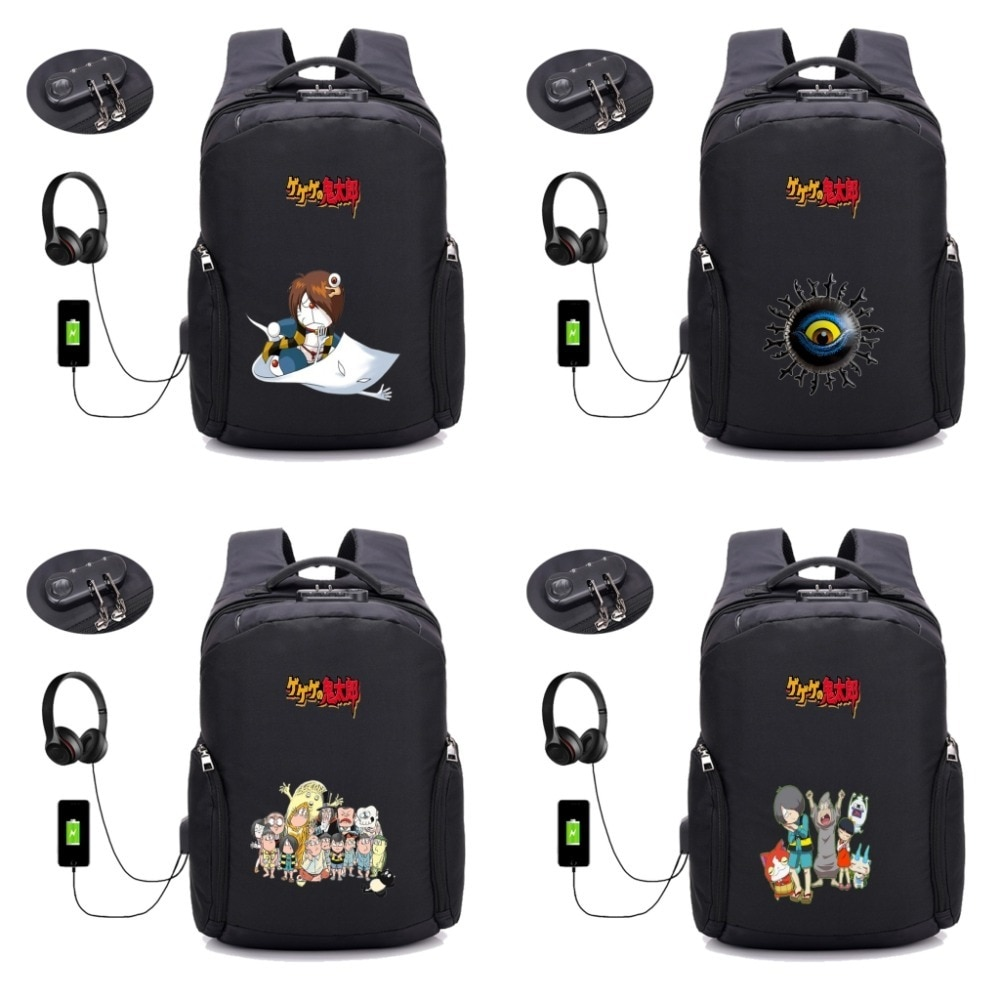 Mochila de anime GeGeGe no Kitaro, mochila antirrobo con carga USB, mochila escolar para estudiantes, mochila para portátil para adolescentes, estilo backpack14