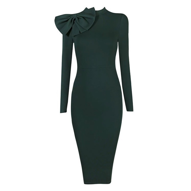 europe-station-competitive-products-autumn-suit-dress-round-neck-bow-long-sleeve-dress