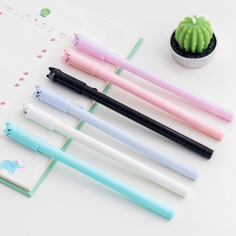 1 pc criativo papelaria estudante caneta gato bonito gel caneta 0.5mm agulha cheia preto tinta caneta material escolar material de escritório acessórios