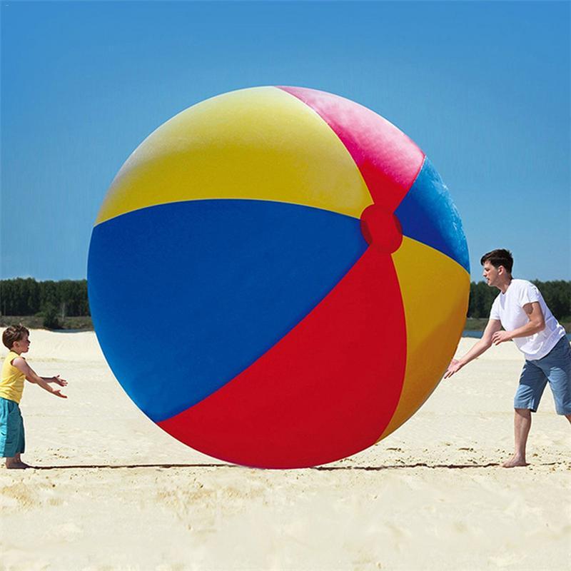 80-15 CM Bola de playa inflable grande tres-Color engrosada de entretenimiento de voleibol de juguete
