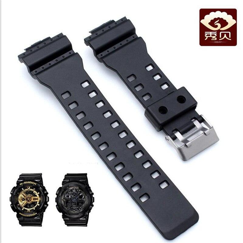 Nueva correa de reloj de goma Sillicone lisa de 16mm (anillo) para G-SHOCK G8900 GA-100/110/120/200/300 reloj convexo correa de boca y broche de Pin venta