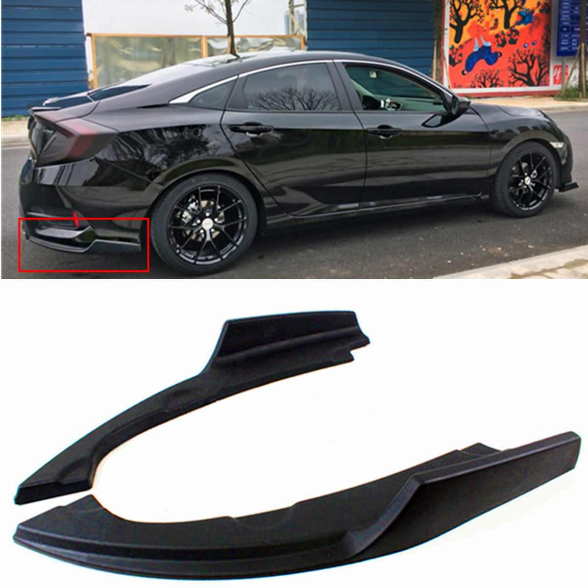 2 uds parachoques trasero Splitters parte inferior labio delantal esquina cenefa cubiertas para Honda para Civic 2016-2018 4 puertas sedán modelo negro