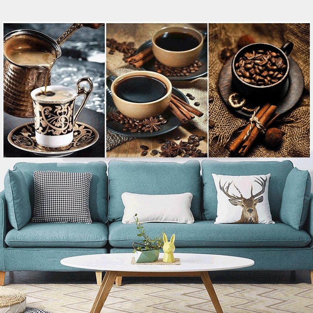 Huacan 3 pc/set pintura diamante quadrado completo café diamante bordado venda fotos de mosaico de strass multi-imagem
