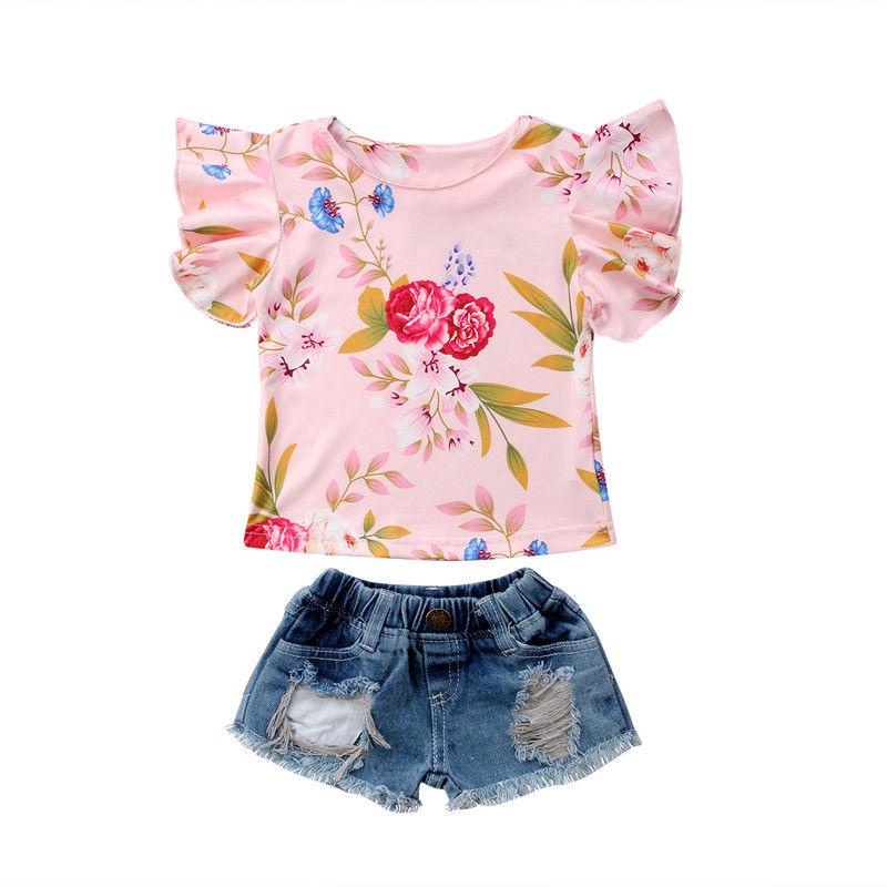 2 pcs conjunto de moda meninas roupas babados sem mangas floral camiseta topos rasgado jeans shorts 2 pcs roupas de verão