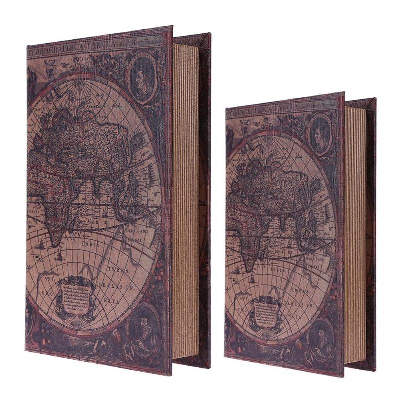 Caixa de madeira estilo europeu, simulação de madeira, organizador de joias para livros, artesanato