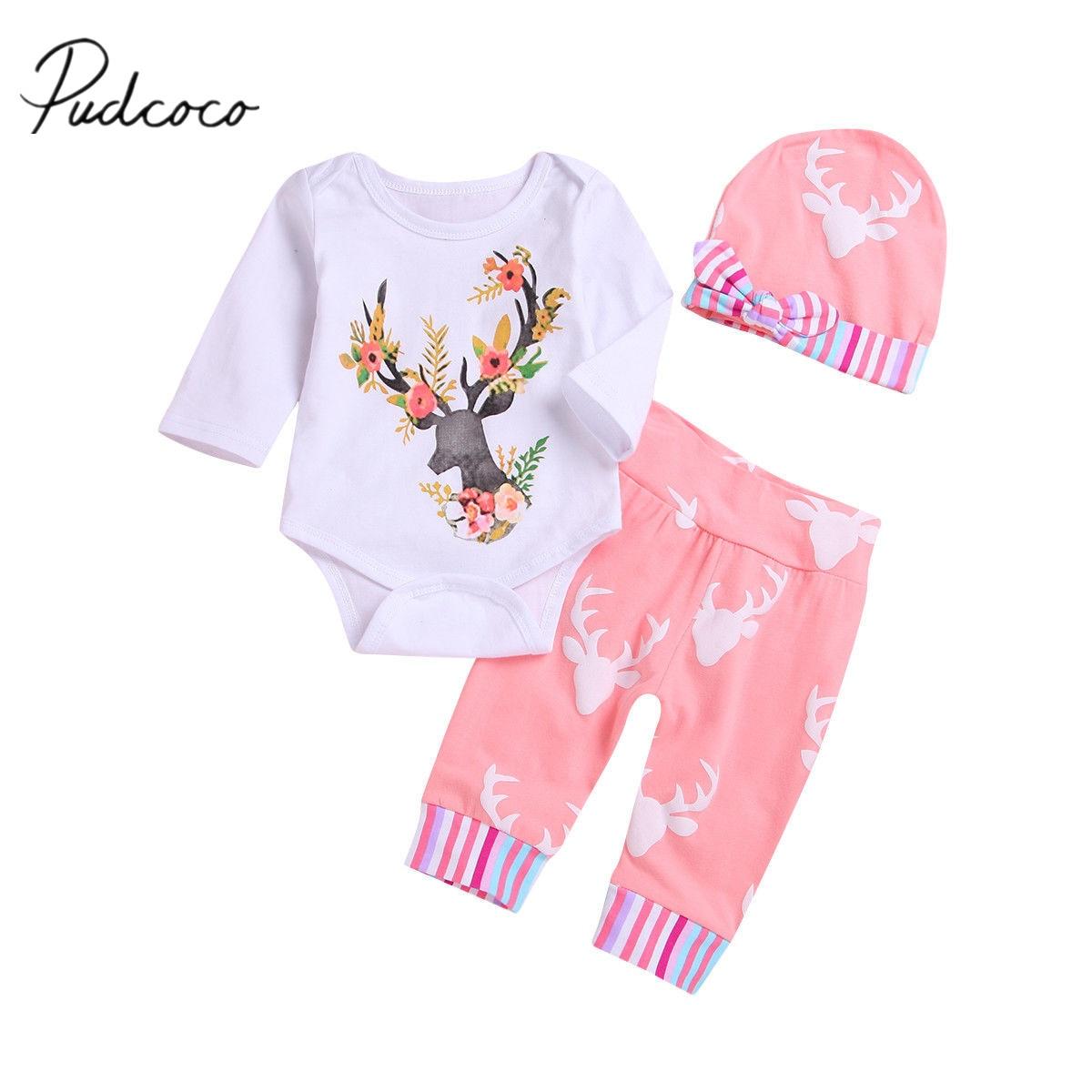 2018 Brand New Toddler Kids Baby Girls Xmas Clothes 3PCS Cartoon Floral Deer Print Long Sleeve Romper Tops+Pants+Hats Sets 0-1Y
