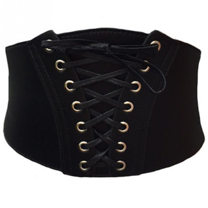 Nova moda feminina preto pino para cima da cintura cinto de couro falso cinched elástico espartilho barriga banda acessórios