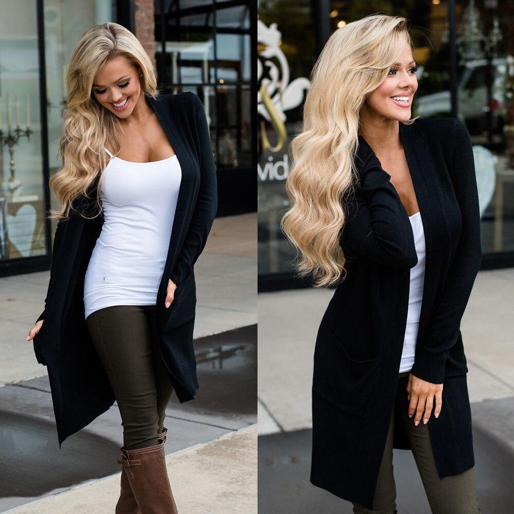 Moda mujer Cardigan largo con bolsillo negro suéter Casual Cardigans abrigo Streetwear