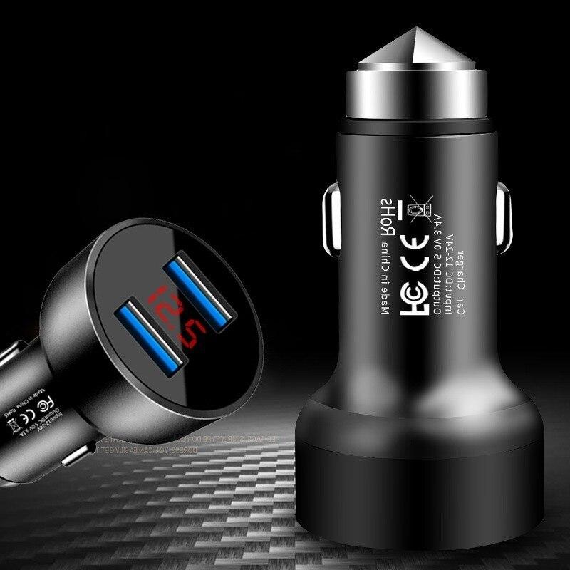 Cargador de coche USB para teléfono móvil 5V 3.4A martillo de seguridad de Metal adaptador de cargador de coche Dual USB Universal 2 puertos Cargador de Coche Rápido
