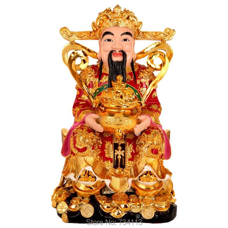God of Wealth Buddha Kaiguang Fortuna ornaments Wencai God Buddha statue home company shop gifts lucky worship gods 31 cm height
