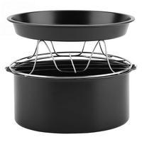 Multifunctional Air Fryer Accessories Set Kit Parts 7 Inch Fryer Accessory 3 In 1 Bread Shelf Cake Barrel Pizza Pan