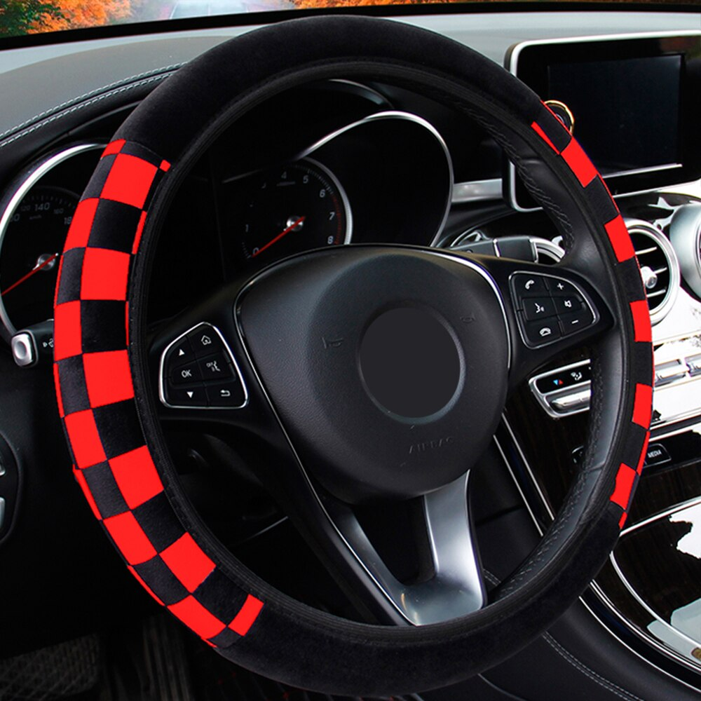 LEEPEE Plush Fabric Auto Decoration Car Steering Wheel Cover Auto Steering Covers Diameter 38cm  Car Accessories Universal